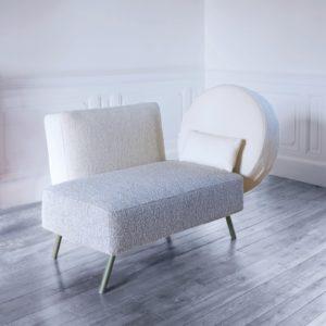 Le canapé sofa Rendez-vous est recouvert de tissu Lelièvre Lama EXTRANORM design Patrick Knoch