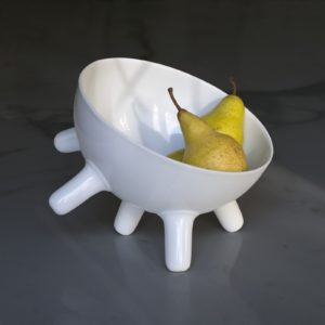 Coupe à fruits en porcelaine de Limoges blanche design Patrick Knoch EXTRANORM
