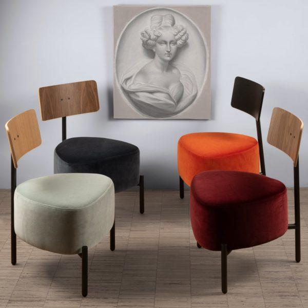 Le velours Kvadrat Raf Simons Harald 3 est un accord parfait avec le petit fauteuil 3 pieds Humaniste design Patrick Knoch pour EXTRANORM, fabrication française, Made in France.